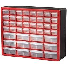 Akro-Mils 10144REDBLK 44-Drawer Hardware & Craft Plastic Cabinet, Red/Black