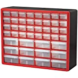 Akro-Mils 10144REDBLK 44-Drawer Hardware & Craft Plastic Cabinet, Red & Black,