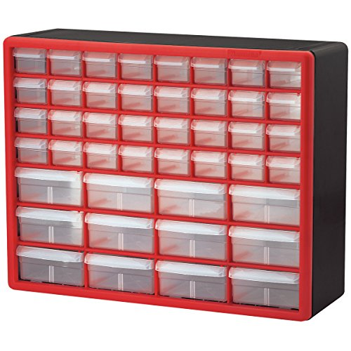 Akro-Mils 10144REDBLK 44-Drawer Hardware & Craft Plastic Cabinet, Red & Black, (Durable Tool Box)