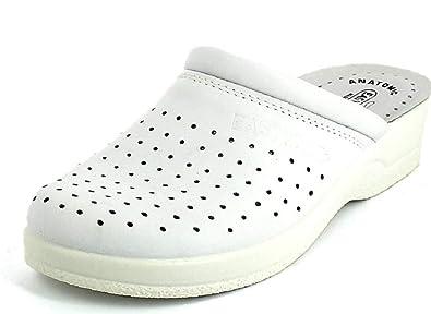brillantezza del colore intera collezione buona vendita EASY WALK Ciabatte SANITARIE Uomo MOD 210 Bianco Vera Pelle ...