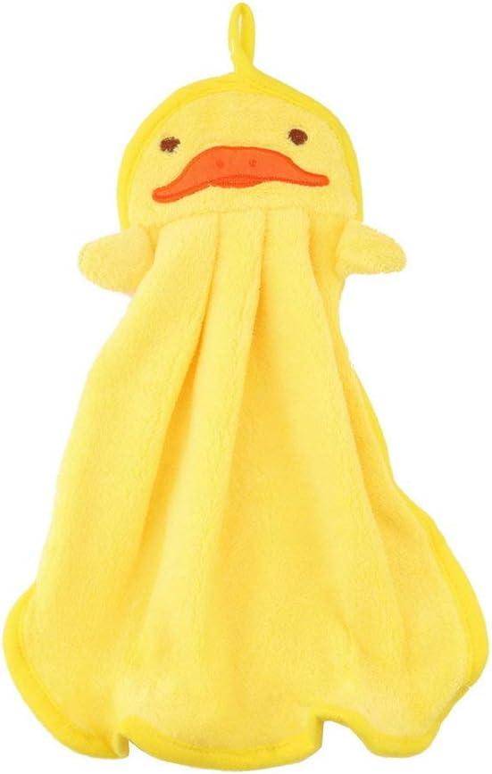 Amarillo Guarder/ía de Tela Suave de Felpa Animal de Dibujos Animados Toalla Colgante Toallita Toalla de Mano