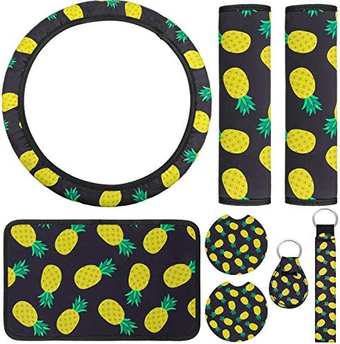 8 Pieces Pineapple Car Accessories Set Including Pineapple Steering Wheel Cover Center Console Armrest Pad Cover Car Cup Holder Coaster Pineapple Seat Belt Shoulder Pads Coin Keyrings