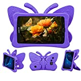 Tading Kids Case for Samsung Galaxy Tab A 7.0, Children Friendly Lightweight and Shockproof EVA Foam Full Protection Stand Cover for SM T280 T285 (Not Fit SM Tab A 10.1/9.7/8.0) Cute Butterfly/Purple