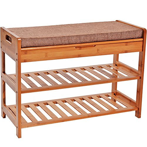 C&AHOME Large Size Bamboo Shoe Storage Bench 2 Tier Rack Entryway Bamboo Organizer Shelf with Cushion and Storage Drawer on Top - Bench Organizer