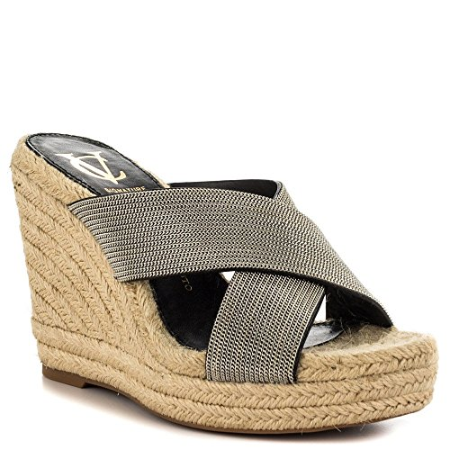 Vince Camuto Signature Womens Derika Silver Raffia Wedge Sandal - M - 9.5