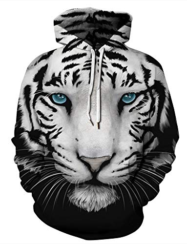 (GLUDEAR Unisex Couple Hoodie Casual Drawstring Pullover Hooded Sweatshirts Plus Size S-XXL,Tiger,2X)
