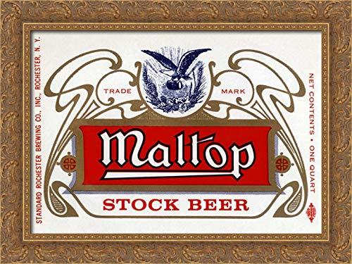 Maltop Stock Beer - Maltop Stock Beer 24x19 Gold Ornate Wood Framed Canvas Art by Vintage Booze Labels
