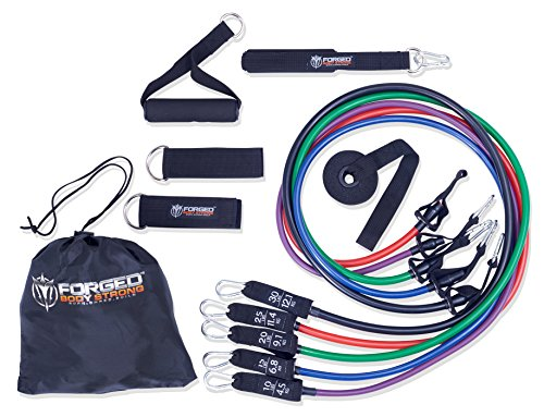 Workout Bands 10 lb to 30 lb Exercise Bands for Total Body Workout , Stackable Resistance Bands Build Muscle . Each Exercise Band Labeled - by Forged Body Strong