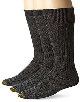Gold Toe Men's Windsor Wool Dress Sock 3-Pack, Charcoal, Shoe Size 10 - 13