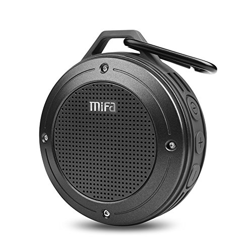 Bluetooth Speaker, MIFA F10 Portable Speaker with Enhanced 3D Stereo Bass Sound, IP56 Dustproof & Waterproof, 10-Hour Playtime, Built-in Mic, Micro SD Card ()