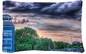 Microfiber Peach Queen Size Decorative PillowCase -City architecture building sky images hdr