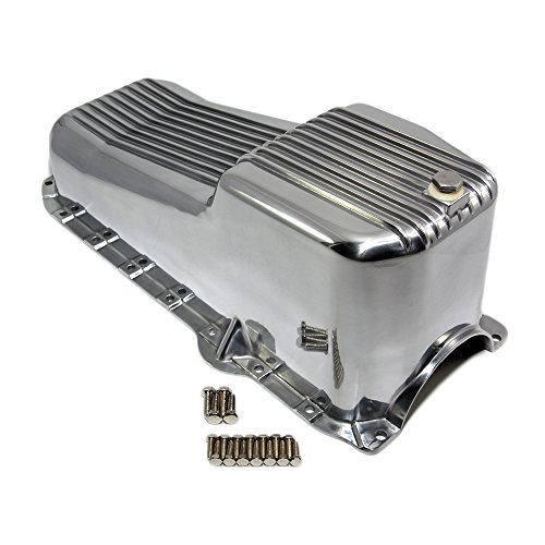 Assault Racing Products A8443 Small Block Chevy Finned Polished Aluminum Oil Pan Retro SBC 305 350 5.0L 5.7L ()