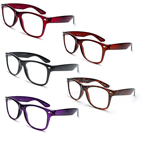Newbee Fashion® - IG Wayfarer Style Comfortable Stylish Simple Reading Glasses 5 Pack - Black, Brown, Tortoise, Red, Purple