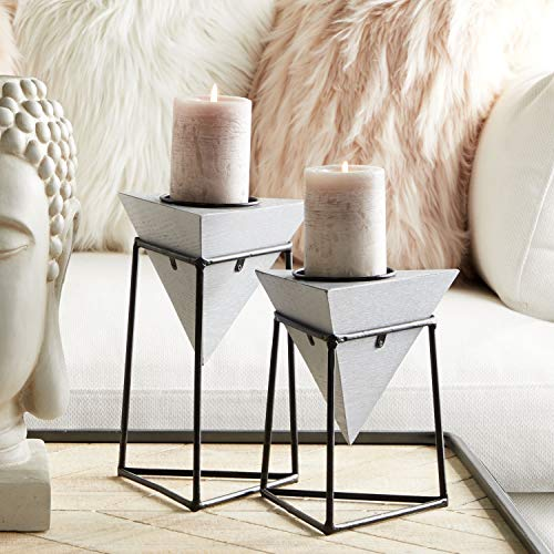 CosmoLiving by Cosmopolitan 45334 Modern Geometric Gray Wood & Metal Candle Holders in Iron Platform Frames | Set of 2: 5
