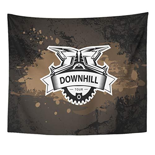 (Semtomn Tapestry Black Bike Downhill Motocros Label Full Face Helmet Mountain Home Decor Wall Hanging for Living Room Bedroom Dorm 50x60 Inches)