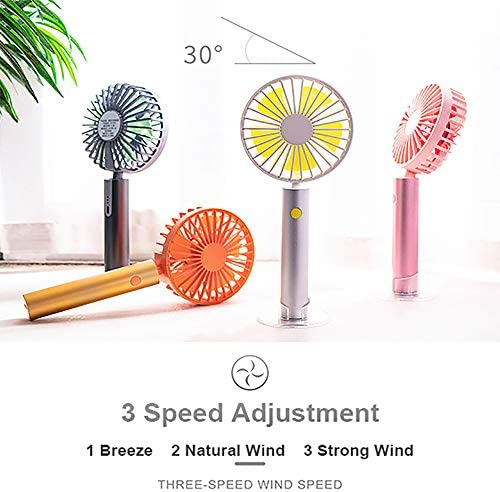 Depnee Mini USB Handheld Desk Fan, 3 Speed, Low Noise, USB Rechargeable Battery, 30 Up and Down Personal Electric Fan for Home,Office and Travel Green
