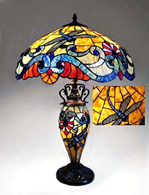 Chloe Lighting CH18B889-DT3 Tiffany-Style Dragonfly 3-Light Double Lit Table Lamp with 18-Inch Shade