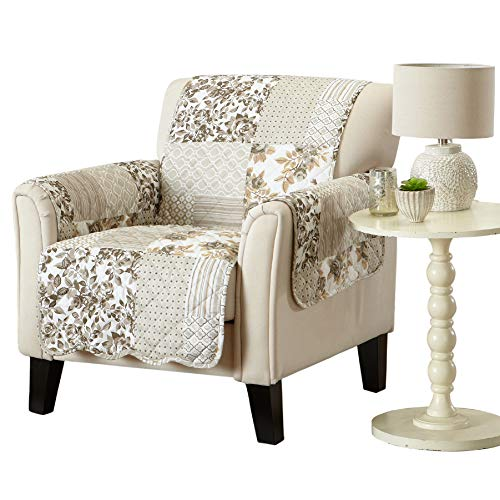 Great Bay Home Patchwork Scalloped Stain Resistant Printed Furniture Protector Brand. (Chair, Taupe)