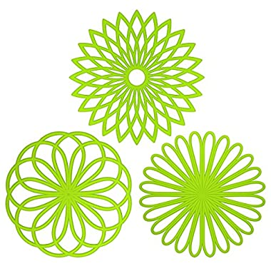 ME.FAN™ Silicone Multi-Use Flower Trivet Mat(set of 3 Pack) Premium Quality Insulated Flexible Durable Non Slip Coasters Cup Grass Green