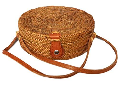 The Lovina Crossbody Flower Pattern Round Rattan Bag, Circle Handwoven ATA Bag