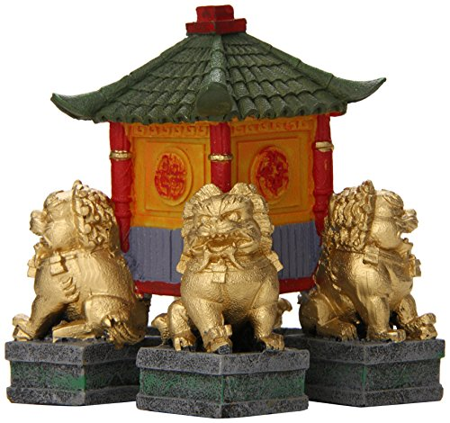 Blue Ribbon Pet Products ABLEE556 Garden Pagoda with Fu Dogs Ornaments for Aquarium