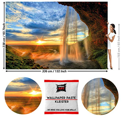 GREAT ART Photo Wallpaper Waterfall Sunset Decoration 132.3x93.7in / 336x238cm - Wallpaper 8 Pieces Includes Paste.