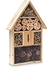 Relaxdays Casetta per Insetti HLP 48 x 31 x 10 cm Hotel api rifugio Coccinelle vespe Farfalle Legno Tetto a Punta Beige