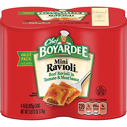 Chef Boyardee Beef Meatballs - Chef Boyardee Mini Beef Ravioli, 15 Oz. 4-Count (Pack of 6)