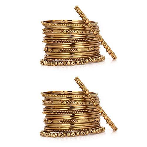 Efulgenz Boho Vintage Antique Ethnic Gypsy Tribal Indian Oxidized Gold Plated Combo Bracelet Bangles Set Jewelry (20 pc Each)