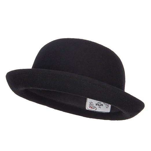 88524337c2b Wool Felt Upturn Brim Bowler Hat - Black OSFM at Amazon Women s ...