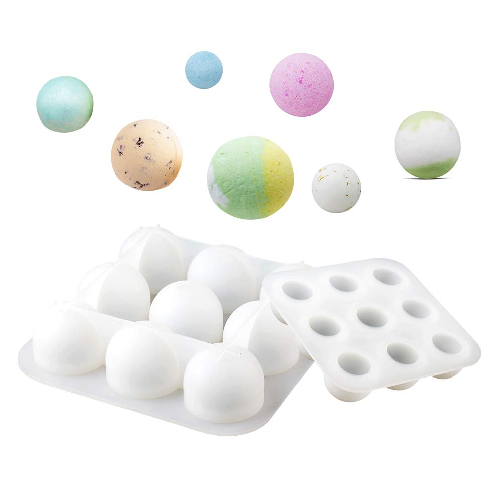 Nicole Bath Bombs Silicone Soap Mold 9-Cavity Spherical Mould for DIY Handmade Big Size