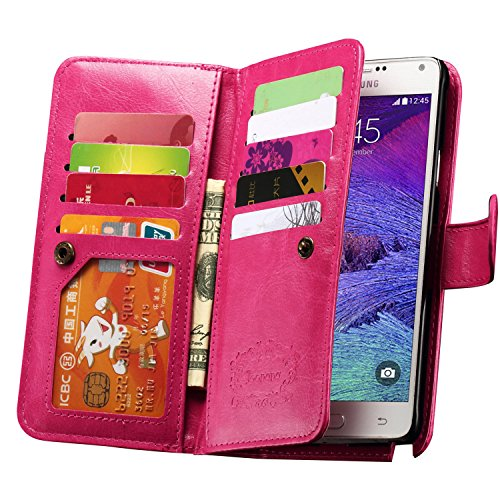 Note 4 Case, Joopapa Galaxy Note 4 Wallet Case,Pu Leather Case Magnet Wallet Credit Card Holder Flip Cover Case Built-in 9 Card Slots & Stand Case for Samsung Galaxy Note 4 (Pink) ()