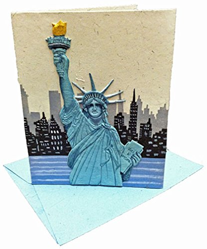 Mr. Ellie Pooh Handmade Statue of Liberty Designer Greeting Card (290-609132739149)