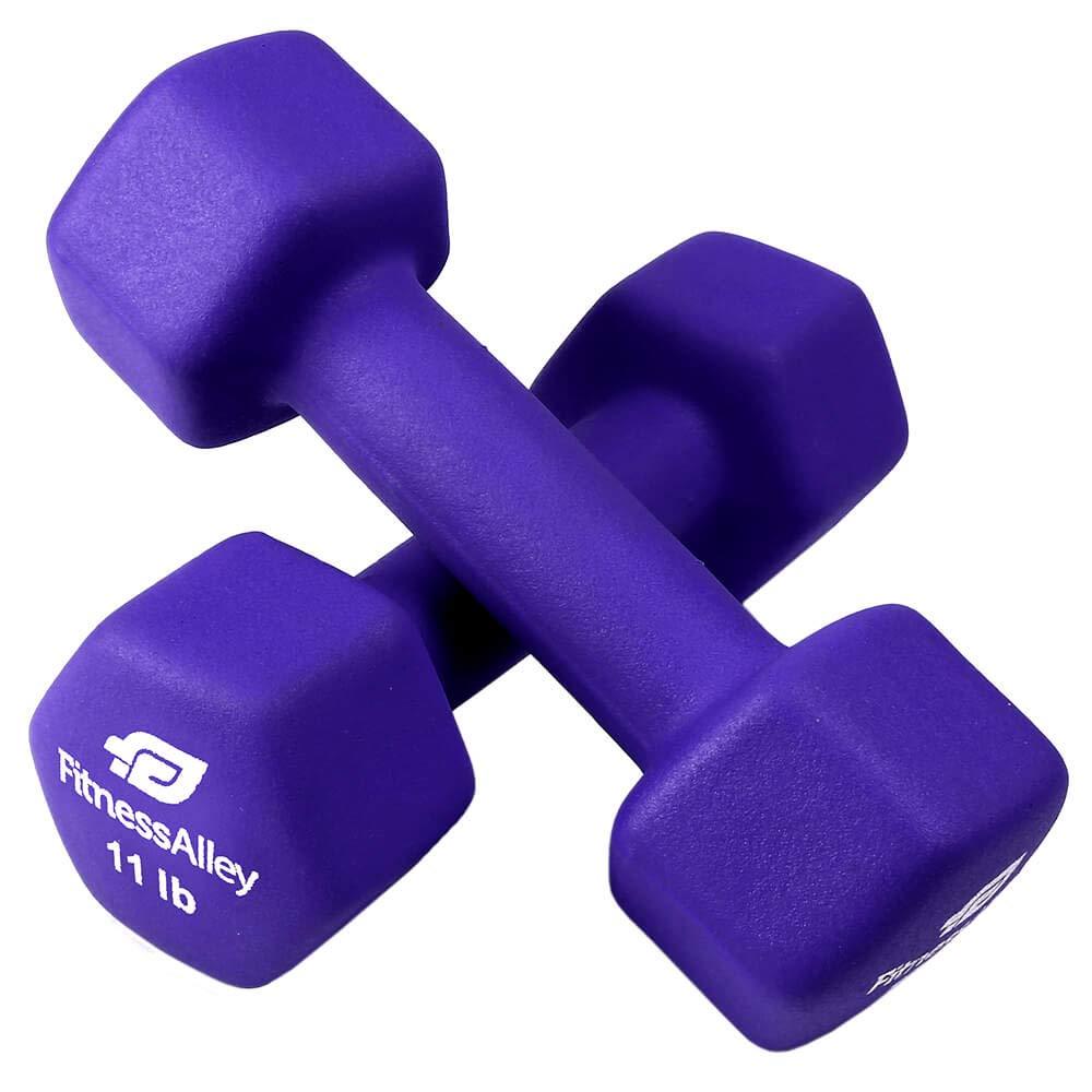 Fitness Alley 11lb Neoprene Dumbbell Set Coated for Non Slip Grip - Hex Dumbbells Weight Set - Hand weights set - Neoprene weight pairs - Hex Hand Weights - Set of two Neoprene Dumbbells, 11lb, Violet