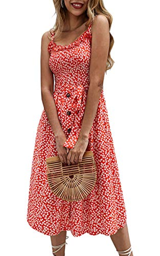 Angashion Women's Dresses - Summer Boho Floral Spaghetti Strap Button Down Belt Swing A line Midi Dress with Pockets 016 Red S