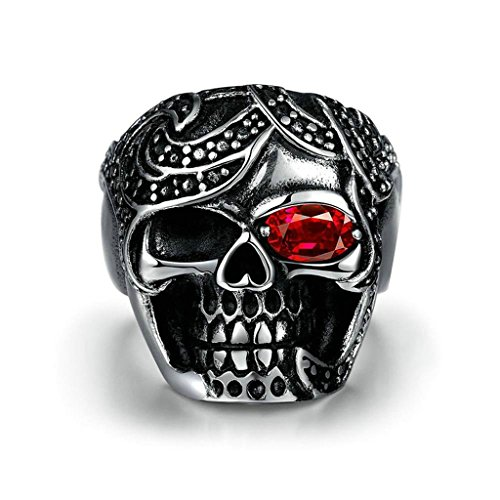 Epinki Stainless Steel Men Gothic Vintage Rings Punk Skull Silver Size 11 Ring-Free (H2o Wood Finish)