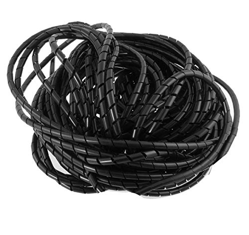 6mm Spiral Wire Wrap Tube PC Manage Cable for Computer Car Cable Wire Cover Sleeve, 21M Length (Spiral 1/4' Wrap)