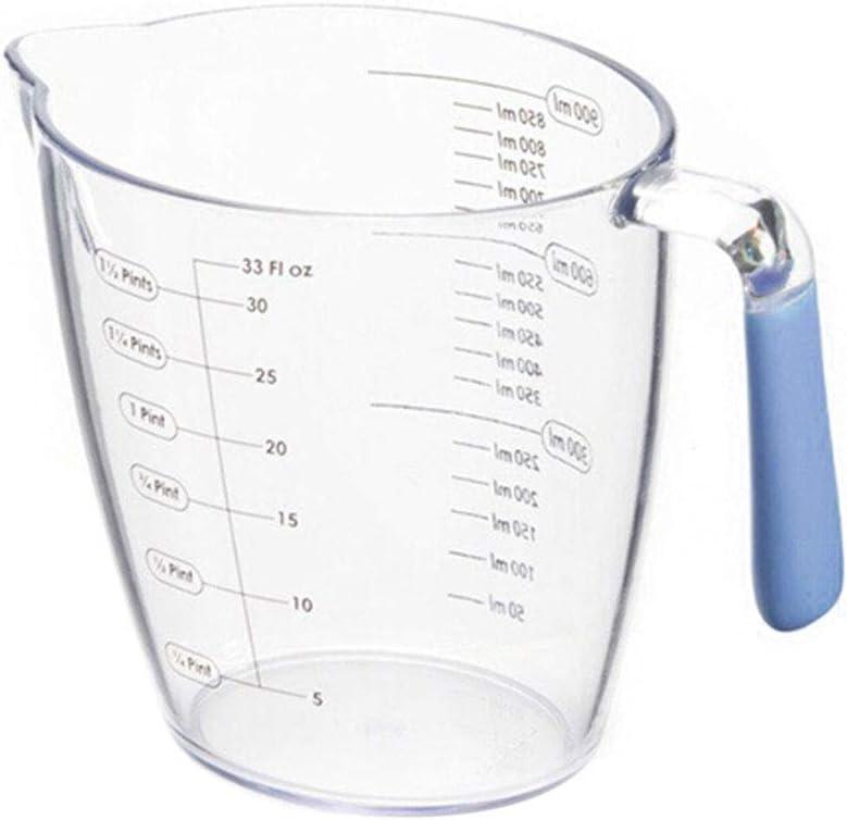 Walkretynbe Tasse /à mesurer en plastique transparent Grande capacit/é Facile /à utiliser Portable L/éger Durable 400 ml bleu