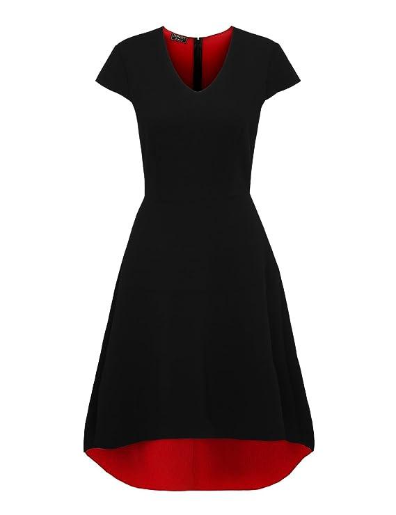 APART Fashion Damen Kleid 35153, Mehrfarbig (Schwarz-Rot), 34: Amazon.de:  Bekleidung