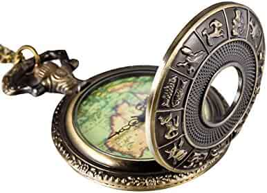 Mudder Bronze 12 Constellation Cover Map Antique Pocket Watch