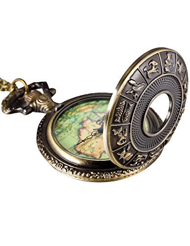 Mudder Bronze Pendant Watch Antique Map Pocket Watch