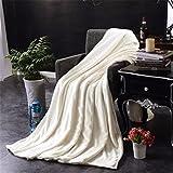 Super Soft Warm Plush Fleece Blanket Sofa Bedding Quilt Play Blanket Vibola (50x70cm, White)