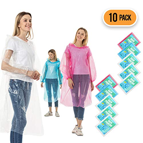 Rain Ponchos for Adults Disposable - 10 Pack Bulk Extra Thick Emergency Waterproof Rain Poncho with Drawstring Hood Raincoat for Men Women Plastic Clear Rain Gear for Disney Hiking Travel Concerts