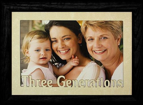 - 5x7 JUMBO ~ THREE GENERATIONS Landscape BLACK Solid Oak Picture Frame ~ Laser Cream Marble Mat