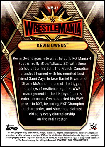 2019 Topps Road to WrestleMania Wrestlemania 35 Roster Wrestling #WM-17 Kevin Owens Official WWE Trading Card From Topps