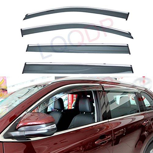 - LQQDP 4pcs Smoke Tint With Chrome Trim Outside Mount Tape On/Clip On Style PVC Sun Rain Guard Vent Shade Window Visors Fit 14-18 Toyota Highlander XU50