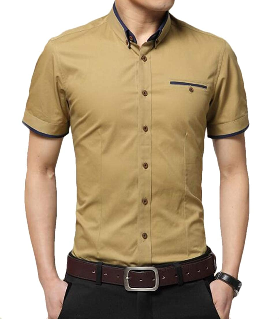 X-Future Mens Short Sleeve Button Down Casual Wrinkle-Free Shirts