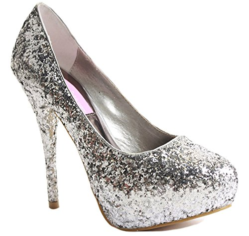 WOMENS LADIES HIGH MID HEEL STILETTO PLATFORM COURT WORK PARTY SHOES PUMPS SIZE Style B - Silver QSOrUCE