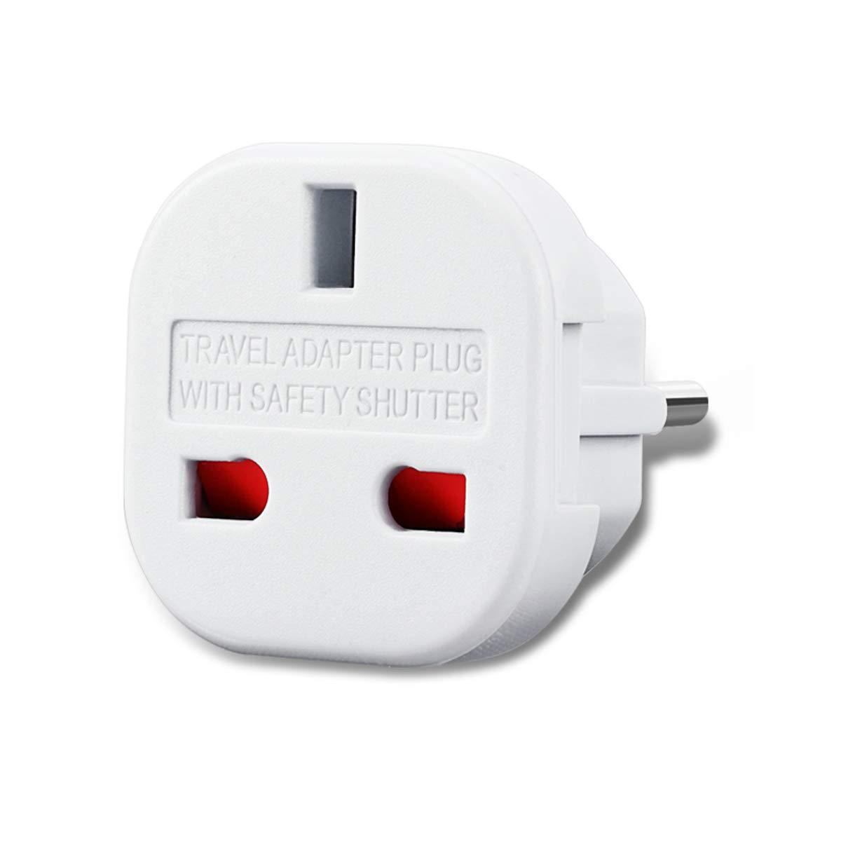 Reiseadapter UK auf EU Deutschland Netz-Stecker Gro/ßbritannien England  Euro-Stecker Adapter Reisestecker GB englisch zu DE deutsch 1x schwarz