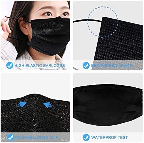 Biwisy 50pcs 3-Ply Disposable Face Mask Breathable Black Masks of fifty PCS Black